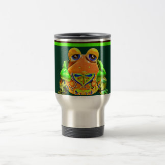 Funky Frog Orange Green Striped Novelty Gifts Travel Mug