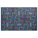 Funky Fun Cute Colourful Name Pattern Fabric