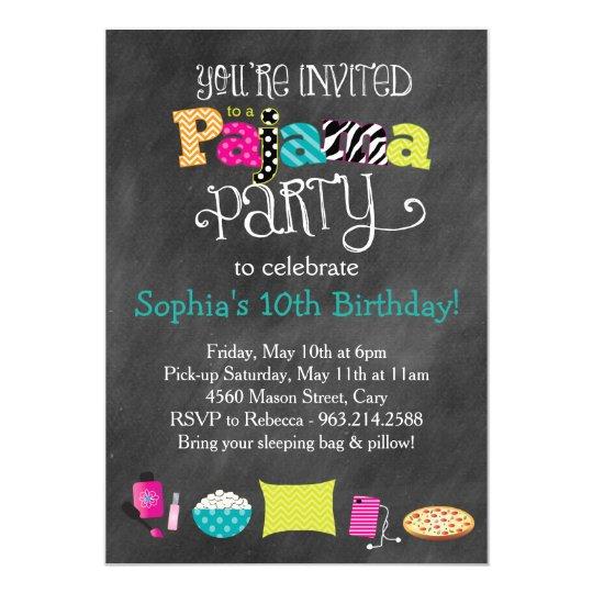 Funky Fun Teen or Tween Pajama Party Card
