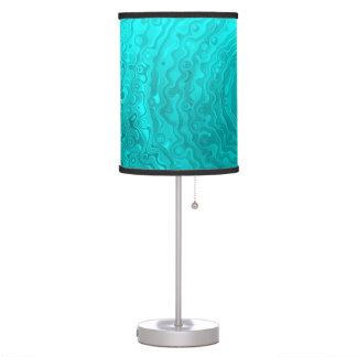 Funky Fun Wave Pattern - Vibrant Aqua Custom Table Lamp