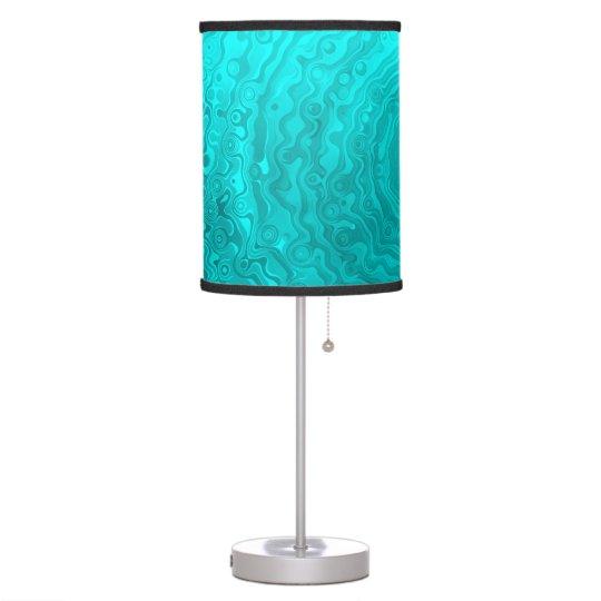 Funky Fun Wave Pattern - Vibrant Aqua Custom Table Lamp