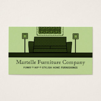 Funky Furniture Business Card, Olive Green Business Card
