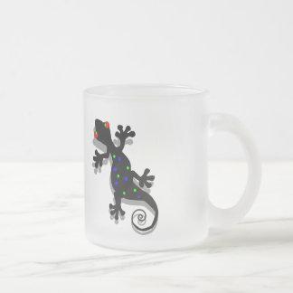 Funky Gecko Art Frosted Glass Coffee Mug