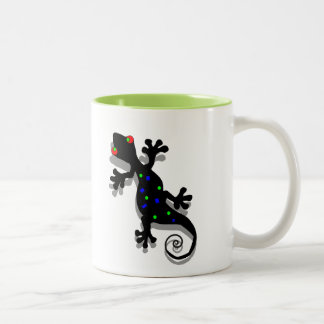 Funky Gecko Art Two-Tone Coffee Mug