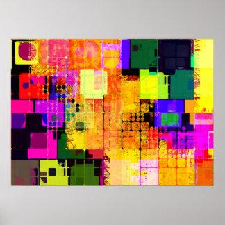 Funky Geometric Multicolored Design Poster
