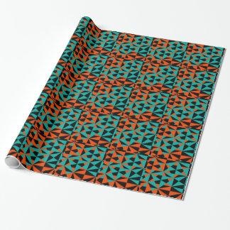 Funky Geometric Orange Black Teal Bold Pattern Wrapping Paper