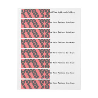 Funky Geometric Red Black Checkered Pattern Wraparound Address Label