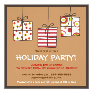 Funky Gifts Holiday Grab Bag Party Invitation