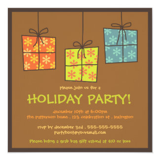 """Funky Gifts Retro Holiday Grab Bag Party 5.25"""" Square Invitation Card"""