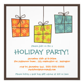 Funky Gifts Retro Holiday Grab Bag Party Invite
