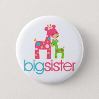 Funky Giraffe Big Sister Tshirt 2 Inch Round Button