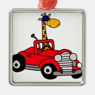 Funky Giraffe Driving Red Convertible Silver-Colored Square Ornament