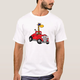 Funky Giraffe Driving Red Convertible T-Shirt