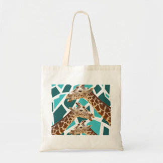 Funky Giraffe Print Teal Blue Wild Animal Pattern Tote Bag