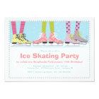 Funky Girls Ice Skating Birthday Party Card