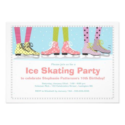 Funky Girls Ice Skating Birthday Party Custom Invitation