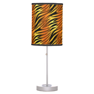 Funky Gold & Black Zebra Animal Pattern Table Lamp