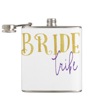 FUNKY GOLD BRIDE TRIBE WITH PURPLE HIP FLASK