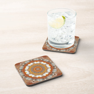 Funky Gold-Copper-Brown Kaleidoscope Coaster Set
