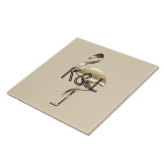 Funky Gold Flamingo Add Initials Tile