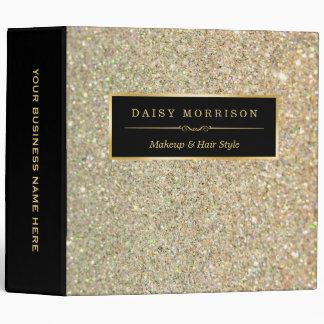 Funky Gold Glitter Makeup Artist Beauty Salon Vinyl Binders