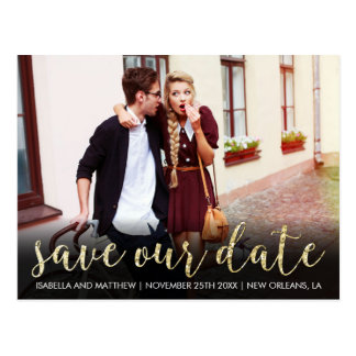 Funky Gold Glitter Save Our Date Wedding Photo Postcard
