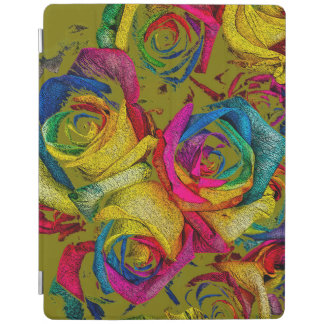 Funky Golden Rainbow Roses iPad Cover