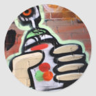 funky graffiti designs classic round sticker