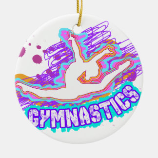 Funky Grafitti Girls Gymnastics Ceramic Ornament