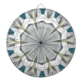 Funky Gray Blue Mandala Pattern Dartboard