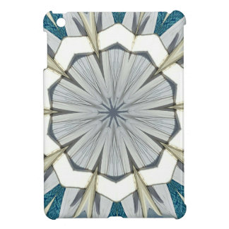Funky Gray Blue Mandala Pattern iPad Mini Cover