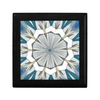 Funky Gray Blue Mandala Pattern Keepsake Box