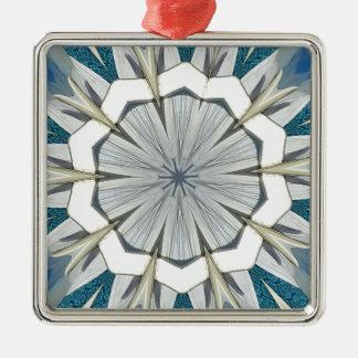 Funky Gray Blue Mandala Pattern Silver-Colored Square Ornament