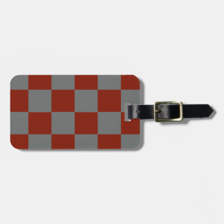 Funky Gray Burgundy Blocks Luggage Tag