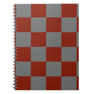 Funky Gray Burgundy Blocks Notebooks