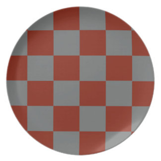 Funky Gray Burgundy Blocks Plate