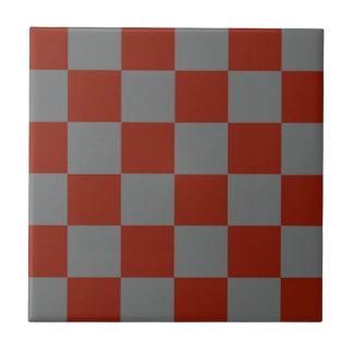 Funky Gray Burgundy Blocks Tile