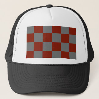 Funky Gray Burgundy Blocks Trucker Hat