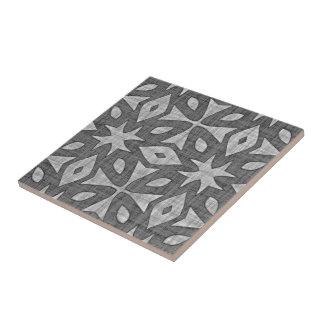 Funky Gray Faux Batik Linen Squares Pattern Tile