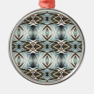 Funky Gray Pattern Metal Ornament