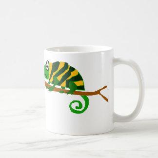 Funky Green and Yellow Chameleon Lizard Art Coffee Mug