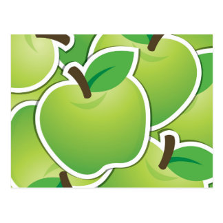 Funky green apples postcard