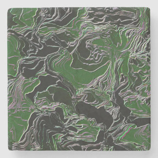 Funky Green Army Camouflage Stone Coaster