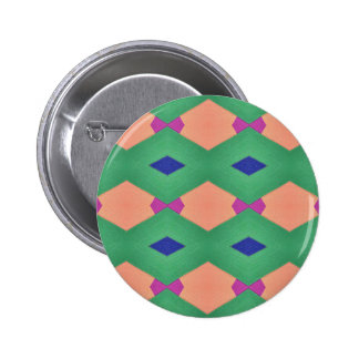 Funky Green Blue Peach Seamless Pattern 2 Inch Round Button