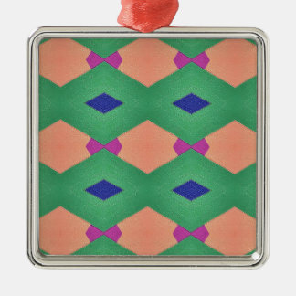 Funky Green Blue Peach Seamless Pattern Silver-Colored Square Ornament