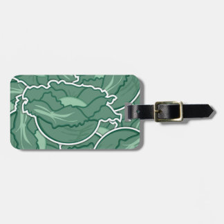 Funky green cabbage luggage tag
