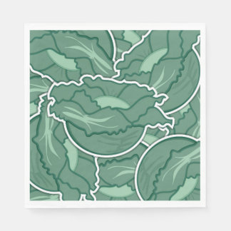 Funky green cabbage paper napkins