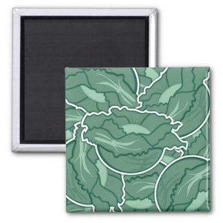 Funky green cabbage square magnet