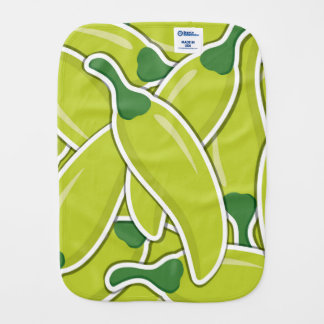 Funky green chilli peppers burp cloths