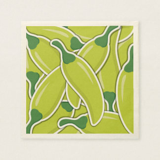 Funky green chilli peppers disposable napkins